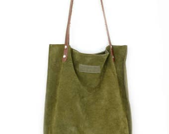 Khaki Green Leather Bag, Handmade Camouflage Suede Leather Tote Bag, Dark Green Purse, Kiwi Colored Suede Leather Bag, Green Leather Shopper
