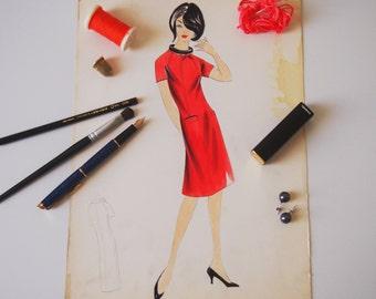 Digital printing/poster/sport red dress pattern design tailoring 50 years '