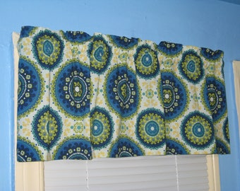 Handmade 100% cotton Suzzani capri Green blue  red white Curtain Valance