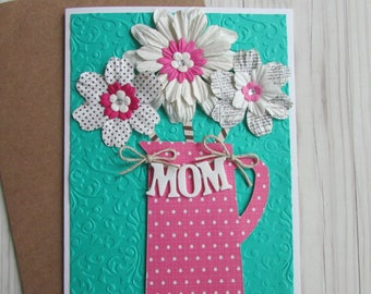 Mother's Day card-Greeting cards,pretty floral cards,cards for Mom,Love cards,embossed cards,5X7 cards,stationery,Handmade/Homemade cards