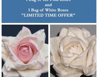 Handmade Paper/Parchment Roses - 1 bag each of Ice Pink and White - 12 roses per bag
