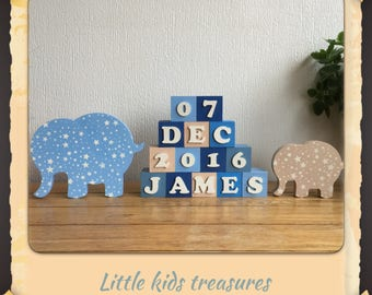 Personalised name blocks with elephants - blue / stone - Little kids treasures