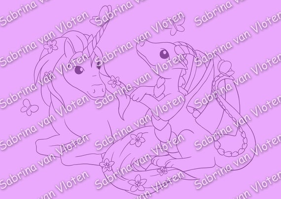 Unicorn and Dragon - Digi Stamp JPEG+PNG