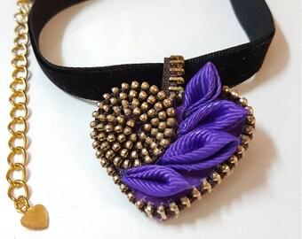 Kanzashi necklace, Zipper necklace,Necklace Handmade,Indy necklace,Heart necklace