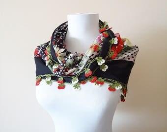 Traditional Turkish Yemeni, Oya scarf, Handmade Scarf, Crochet Oya Scarf, Wrap Scarf, coton floral scarf, handmade lacework oya