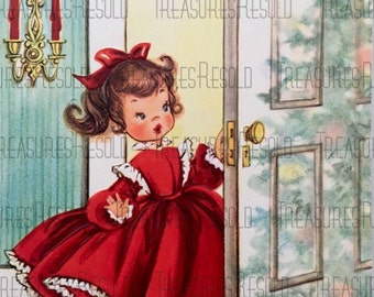 Retro Little Girl Looking at Christmas Tree Christmas Card #612  Digital Download