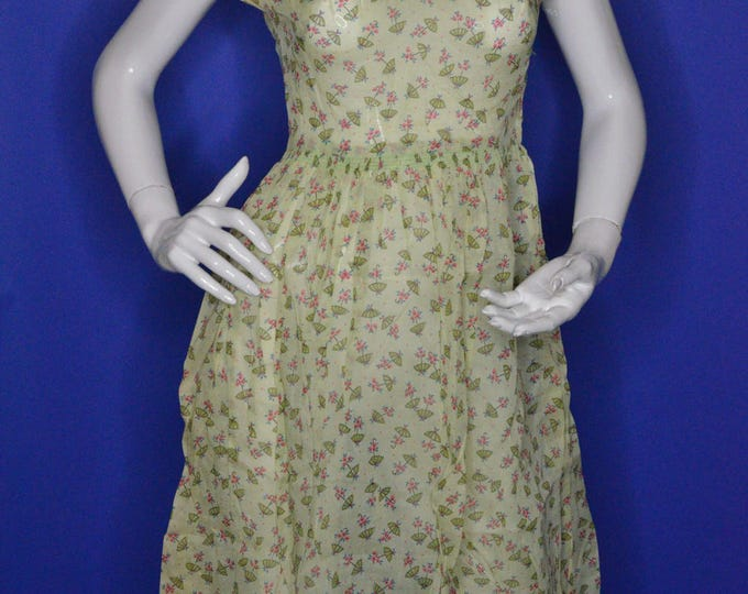 Vintage Estate 1950s Blue Green Pink Umbrella Novelty Print Day Dress