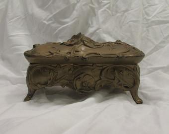 Jewelry Box, Casket Style, Art Nouveau, Unlined, Metal, Gold Painted