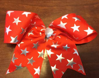 Red Star Cheer Bow, 10 Inch Cheer Bow, Red Cheer Bow, Star Cheer Bow, Red Star Cheer Bows, Cheerleader Bows
