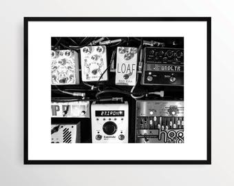 New York City Photography Print NYC Black and White B&W NY Street Art Urban Monochrome Brooklyn Museum Music Pedals