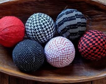 Classic Decorative Fabric Rag Balls, fabric balls, rag balls, bowl fillers, vase fillers-set of six 3 inch balls in black, white & red