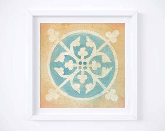 Medieval Art | Roundel | Watercolor | Illumination | Printable Watercolor Art | Wall Art  | Romanesque Art | Digital Print | Art Print