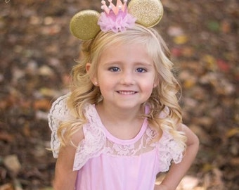 Gold and Pink Mouse Ear Headband, Princess Headband, Birthday Headband, Birthday Crown, Girls Headband