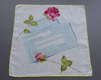 German Telegram - Vintage Novelty Cotton Hankie Handkerchief