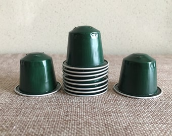 Recycled Nespresso green capsules, empty Nespresso pods, recycled jewelry, nespresso jewelry, packages of 10