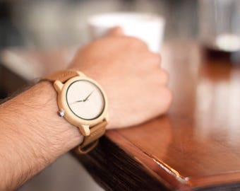 Leather And Wooden Watch