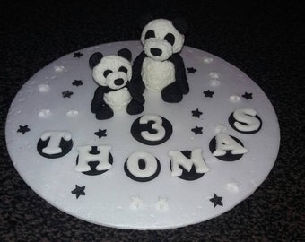 Edible hand made mummy and baby panda birthday cake topper PERSONALISED