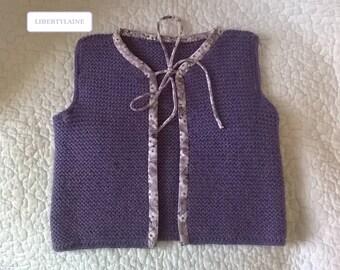 Adorable little shepherd vest size 6-12 months purple and mauve Liberty