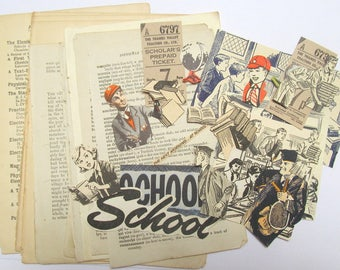 Vintage school ephemera pack: 35 paper pieces, tickets, book pages. Embellishments for scrapbooks, smash book, collage, journals. EP526