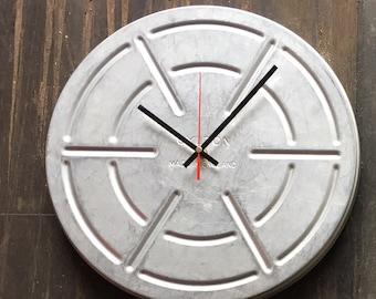 Large vintage film tin canister clock 36 cm diameter