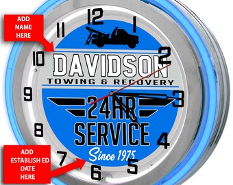 Personalized Towing Wrecker Service Double Neon Clock