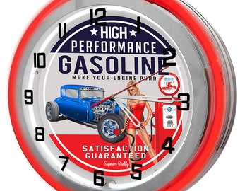 vintage gasoline station red double neon clock