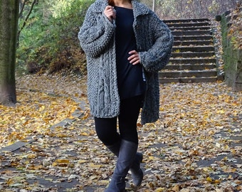 SALE, knit cardigan, bulky cardigan, gray cardigan, cable knit cardigan, aran cardigan, knit jacket, knit sweater, wool, ready to ship