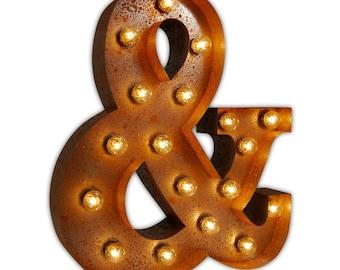 Vintage ampersand theatre lamp - vegas letter light metal