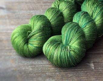 GREEN OOAK pure silk lace, lace yarn, knitting, crochet