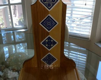 Southwestern Style Handcrafted Ceramic Tile & Hickory wood Elder's Stepstool