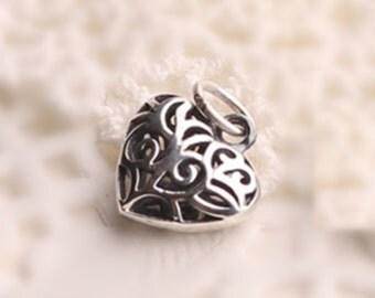 Wholesale lot 12pcs Heart  Shape 925 silver   pendant  Charm diy  bracelet necklace Valentine gift  0.88g