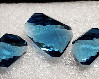 50% OFF 3 piece Set London Blue Topaz Carved Cut / Fancy Blue Topaz / Carved Blue Topaz / Topaz Quartz / Topaz Gemstone / 17x13 To 24x18 mm