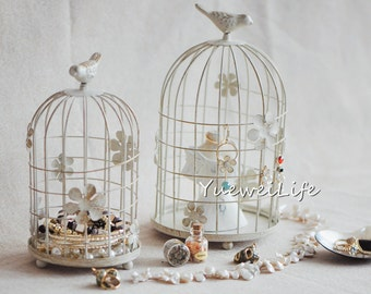 Birdcage Wedding Candle Lantern/ Metal Candle Holder/ Vintage-styled Wedding Centerpiece, Cream White with Gold