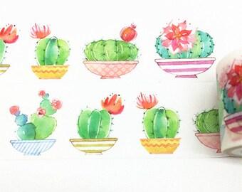 Cactus Washi Tape, Plants Washi Tape, Green Washi Tape