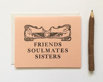 Letterpress Card - Friends Soulmates Sisters Mermaids