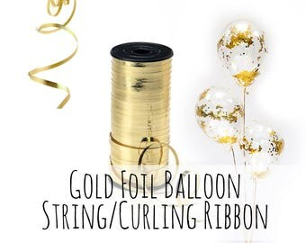 One Roll of Gold Balloon String, Metallic Gold Foil Curling Ribbon, 300 ft/100 yds, Party Decorations, Wedding Decor, Birthday Decoration