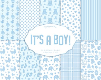 "Baby Boy Digital Paper ""It's A Boy"" baby digital paper, baby shower, blue digital paper, background, printable paper, baby blue, birthday"