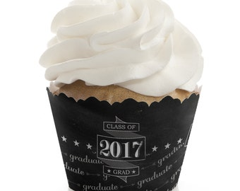 Graduation Cupcake Wrappers - Graduation Cupcake Party Supplies - Dessert Wrappers - Graduation Cheers Cupcake Decorations - Set of 12
