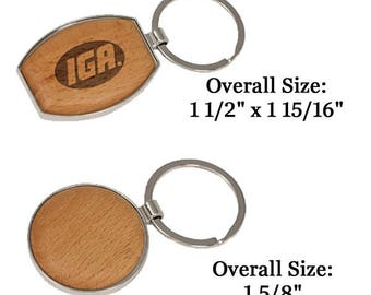 """Personalize with your logo or photo Silver/Wood Oval Keychain 1 1/2"""" x 1 15/16"""