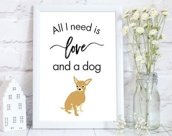 chihuahua art, chihuahua print, chihuahua gift, customisable print, personalised art print, 3 different sizes available
