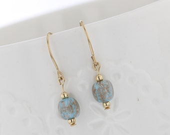 14kt Gold Filled Blue Bead With Gold Swirl Dangle Earring, Gold, Gold Swirls, Blue Bead, Blue Earring, Dangle Earring , Gold Earring