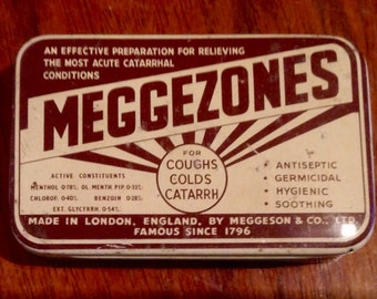 Vintage Meggezones Tin. Retro Throat Pastille Container. 1950's.