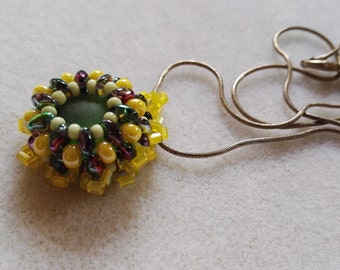 Yellow green Beaded flower Pendent glass center Sterling Silver Necklace