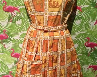 Asian Novelty print vintage dress