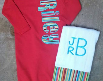 Red Baby Boy Infant Gown with Appliqued Name Burp Cloth to Match Red Knot Hat Going home outfit and Shower Gift