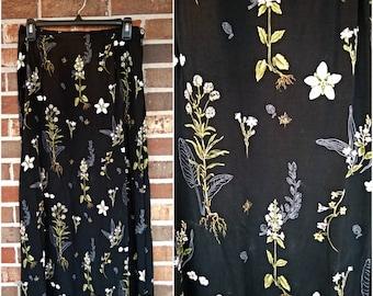 90s Black and White Floral Botanical Long Skirt, 10