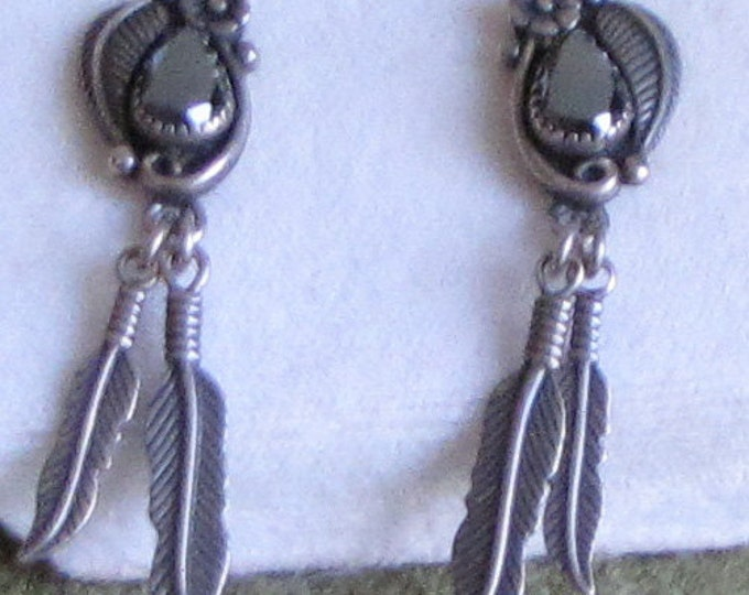 Wheeler Native American Sterling Silver Earrings Dangled Feathers and Black Stone Vintage Jewelry and Accessories