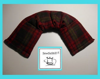 Microwavable Heating Pad, Neck Warmer, Rice Heating Pad, Flax Seed, Sunny Heat Pack, Red Gray Black Plaid