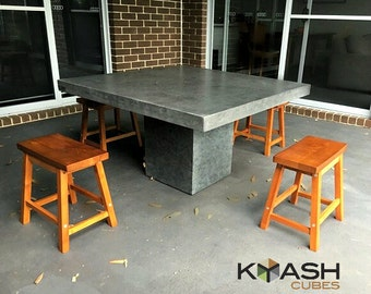 Concrete dining table cafe style, charcoal concrete dining or patio table 1.2 x 1.2m square outdoor table