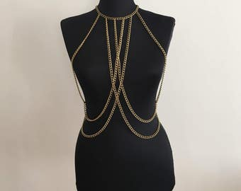 Antique  Body Chain / Body Jewelry / Body Necklace / Body Harness/ Festival Jewelry / Antique Body Jewelry / BDC1041-05